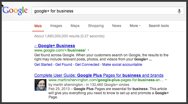 Google authorship in Search